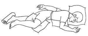 Pusiau gulima ant pilvo Simso padėtis